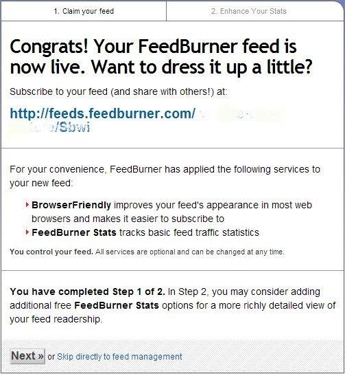 comment s'inscrire à feedburner