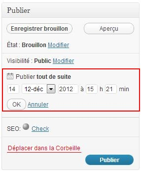 planification des articles wordpress