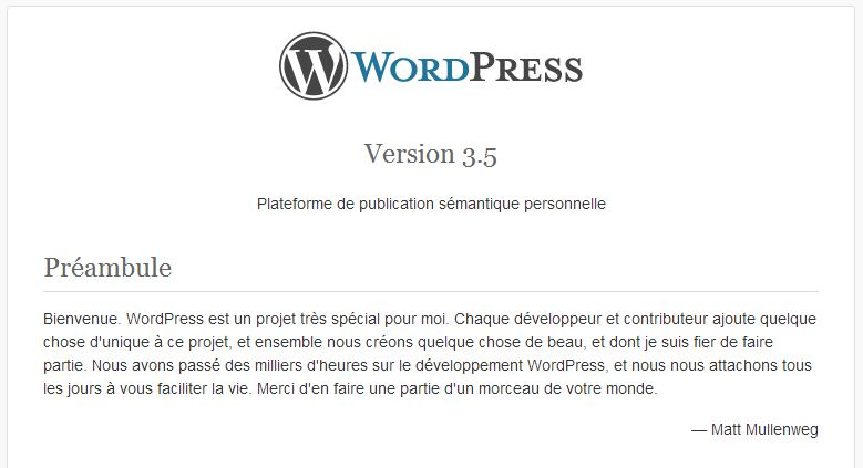 Version de votre blog WordPress