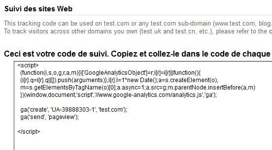 Code suivi Google Analytics